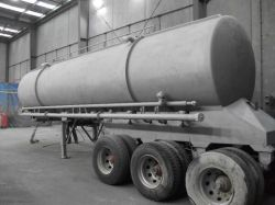 Sandblasted tanker ready for painting