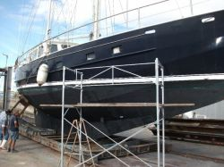 Boat in dry dock/on slipway for sandblasting